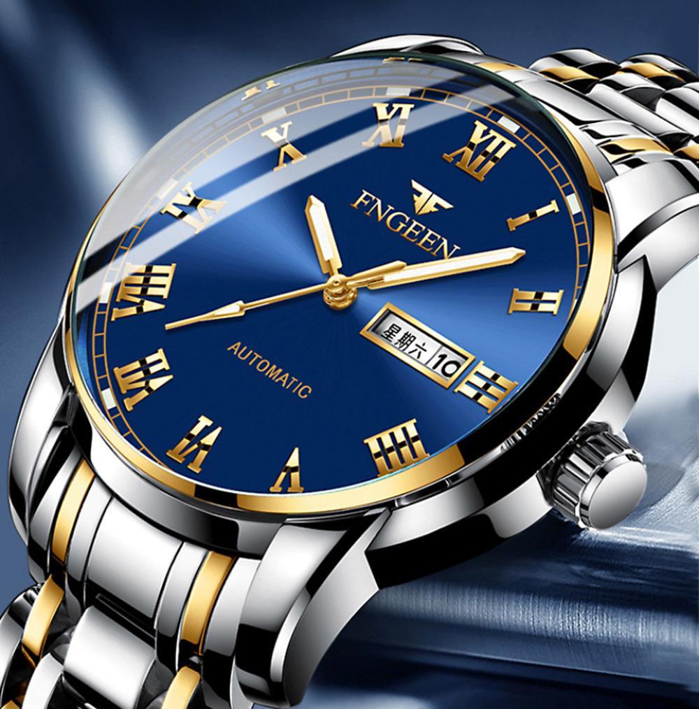 2020 FNGEEN Watches Men Stainless Steel Watch Business Luxury Male Clock Men 'S Waterproof Quartz With Date Wristwatch Clock