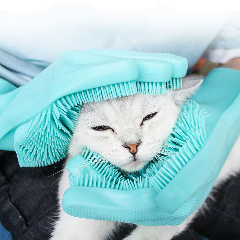 Grooming-Glove Cats Animal Pet-Hair Deshedding-Brush for Wool Cleaning 1-Pair