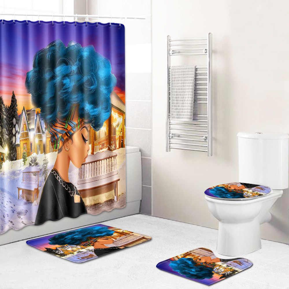 バスマットセット 4 個アフリカの女性ポリエステルシャワーカーテンセット以外敷物バスルームトイレ FlannelJ190901