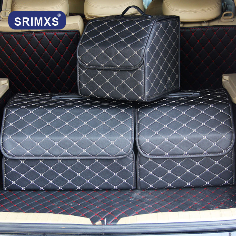 Pu Leather Folding Car Trunk Organizer Lid Portable Car Storage Box Bags In The Trunk For Auto