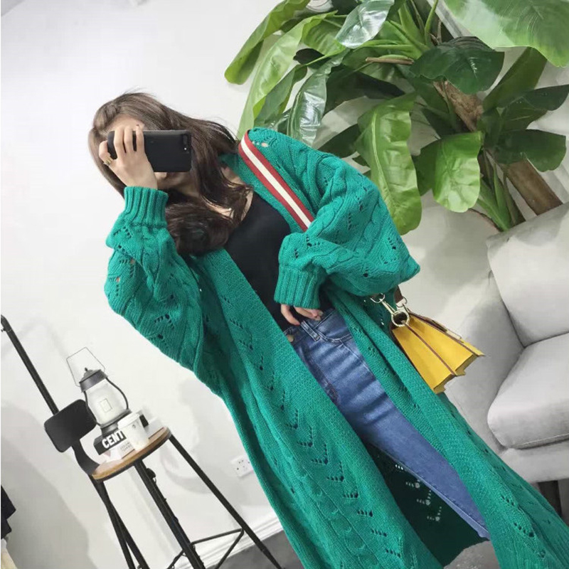 SVOKOR Knitted Sweater Cardigan Long-Sleeve Loose Plus-Size Hollow Women's Trend Leisure
