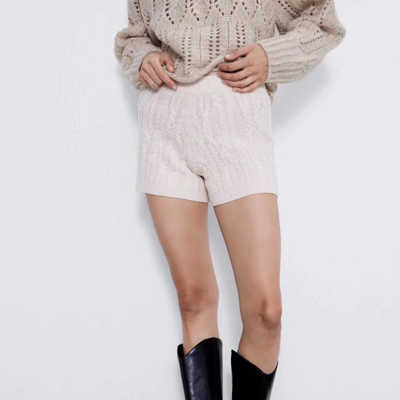Autumn And Winter Women's Shorts Casual Solid Color Knitted Shorts