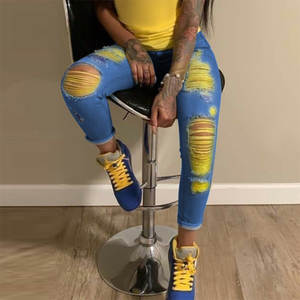Ripped Jeans Pencil Pants Denim Trousers Skinny Scratch Sexy High-Waisted Women New-Fashion