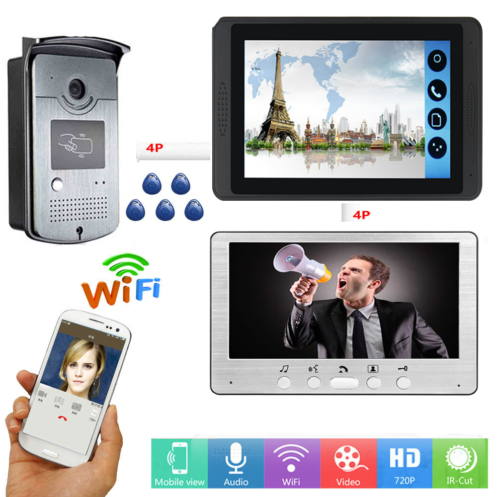 Video Intercom 7 Inch Monitor Wifi Wireless Smart IP Video Doorbell System Visual RFID Access Unlock Intercom KIT SD Recording