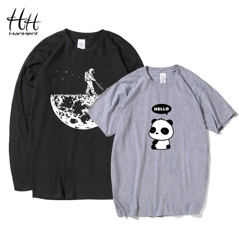 HanHent Funny T Shirts Men Summer Fashion Moon Print Tshirt Casual Short Sleeve O-neck T-shirt Cotton Top Tees Wholesale