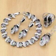 Mistik gökkuşağı yangın kübik zirkonya takı setleri gümüş 925 takı süslemeleri kadınlar için küpe/kolye/kolye/yüzük/Bilezik
