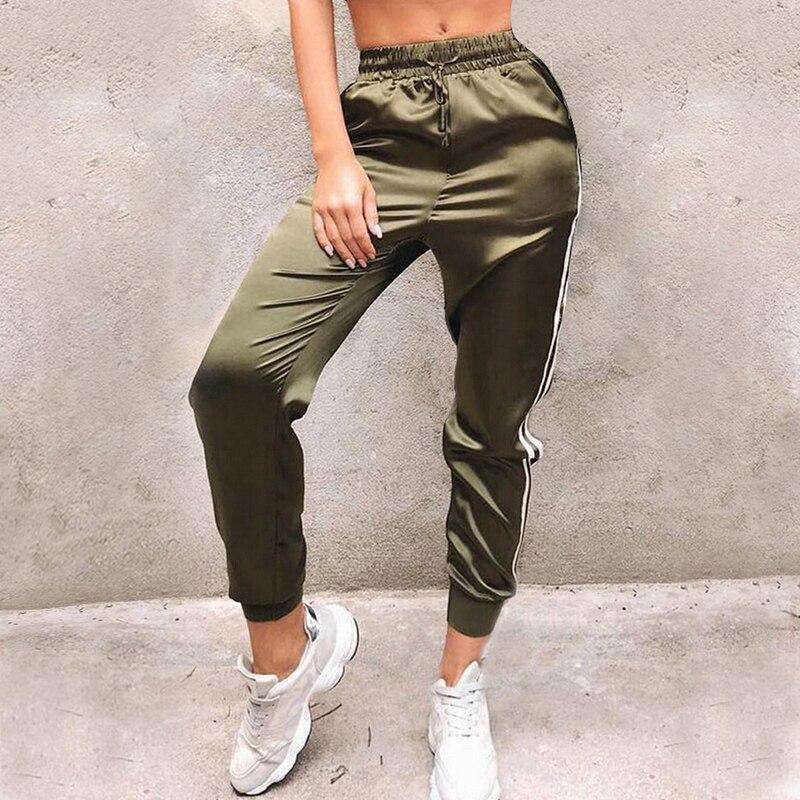 LITTHING 2019 Sweatpants Women Casual Harem Pants Loose Trousers For Women Black Striped Side Sweat Pants Female Plus Size