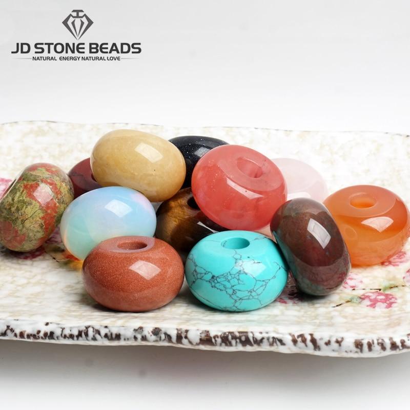 2pcs/Lot Natural Stone Agate Jade Quartz Big Hole Gemstone Beads Round Shape for Jewelry Making Women DIY Bracelets Accessories(China)