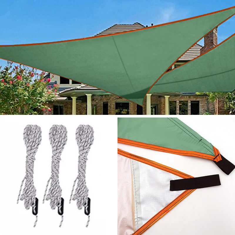Con cuerdas para tensar 3x3x3m Protecci/ón rayos UV Beige Relaxdays Toldo vela triangular Impermeable