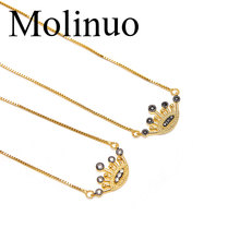 Molinuo 2019 new simple charm micro-carving cz lucky evil eyes and black eyelashes fashion jewelry female pendant necklace