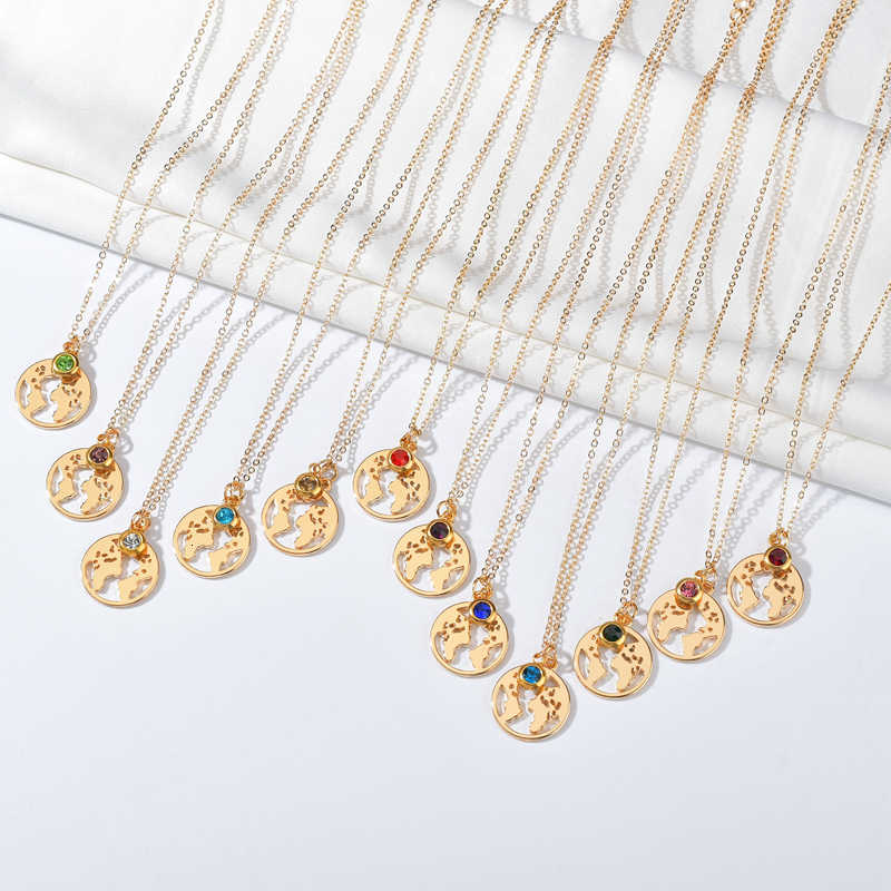 Emas Dunia Peta dengan Kalung Kristal Warna-warni Ulang Tahun Batu Kalung untuk Wanita Pesona Unik Liontin Kalung Perhiasan