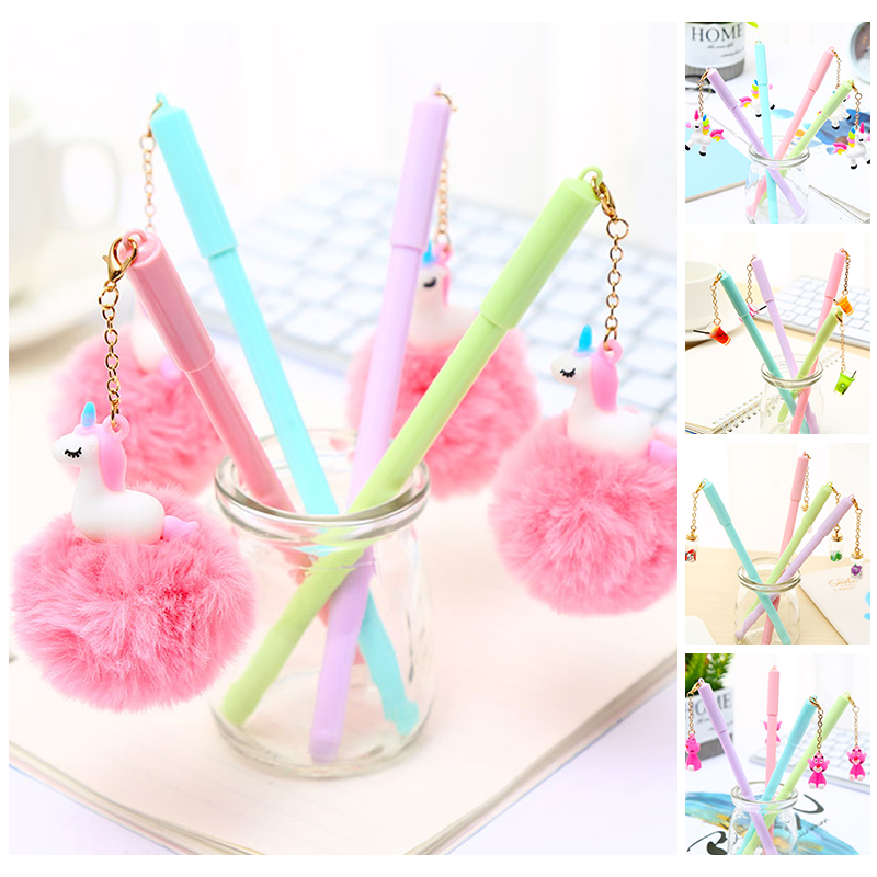 Korean Cute Kawaii Unicorn Fluffy Plush Gel Pens Pink Panther Kawai School Office Stationery Bts Accessory Stationary Cool Thing