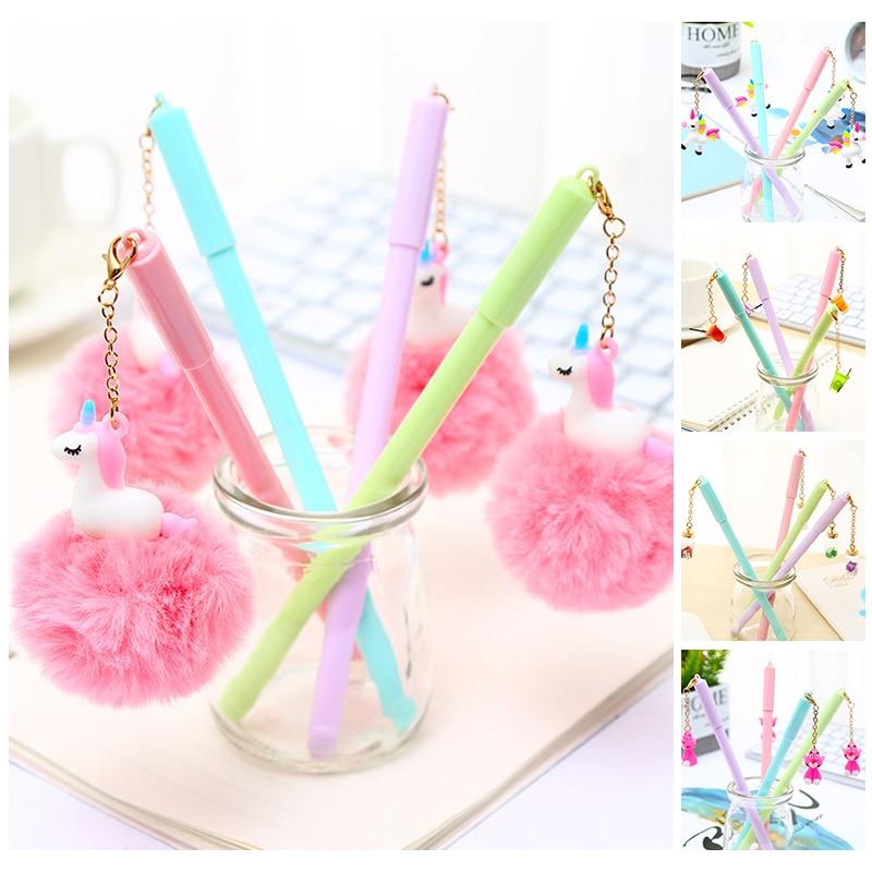 Korean Cute Kawaii Unicorn Fluffy Plush Gel Pens Pink Panther Kawai School Office Stationery Kit Accessory Stationary Cool Thing(China)