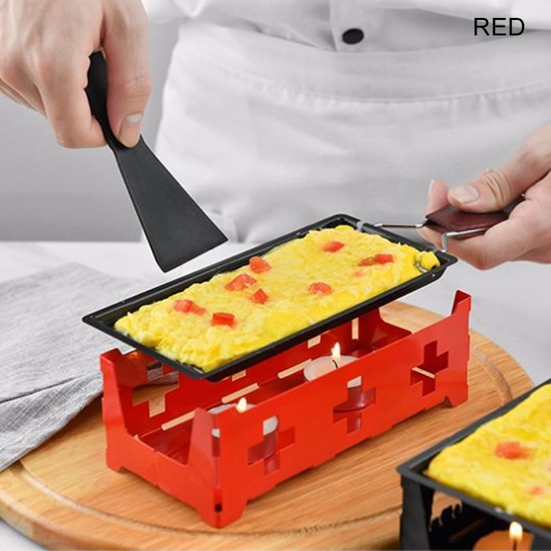 Metal Non-stick Raclette Grill Set Cheese Grill Melter Pan w// Candles Spatula SH