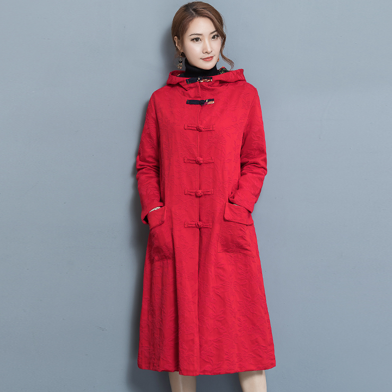 2019 New Spring Autumn Women's Cotton Linen Long Windbreaker Warm Coat Chinese National Wind Button Cardigan Long   Trench   Coats