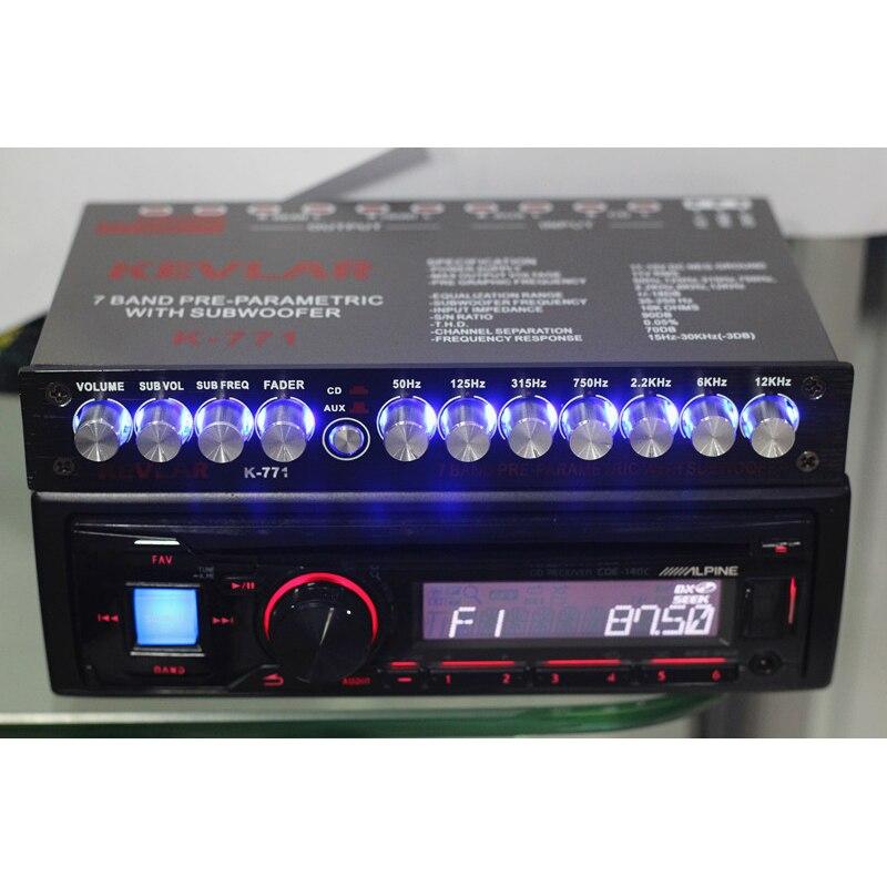 7 Segment Equalizer Car Audio EQ Tuning Crossover Amplifier Car Equalizer AUX Input D3-008