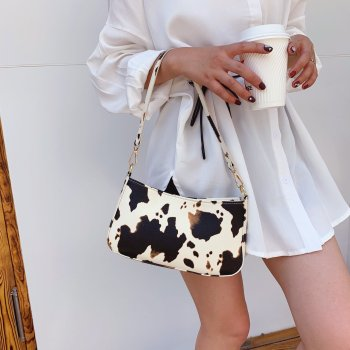 2020 Milk Cow Print Women Handbags Vintage PU Leather Luxury Girls Shoulder Messenger Bags Women Armpit Bag Crossbody Bags