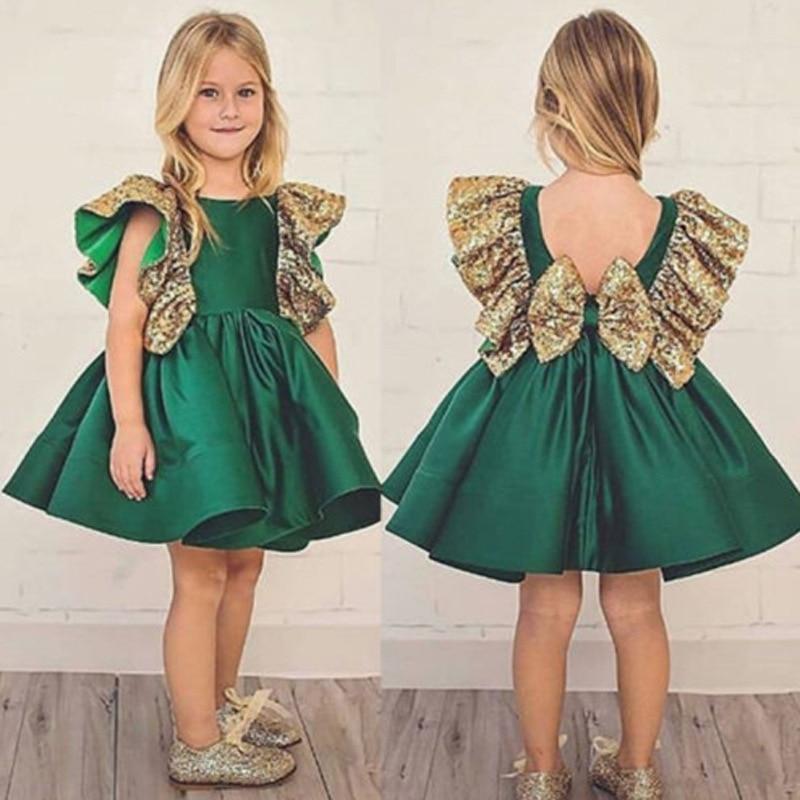Summer Toddler Baby Girls Sleeveless Kid Green Bow not Princess Elegant Tutu Dresses for Party Wedding Girl Dress lol vestidos in Dresses from Mother Kids