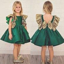 Summer Toddler Baby Girls Sleeveless Kid Green Bow-not Princess Elegant Tutu Dresses for Party Wedding Girl Dress lol vestidos