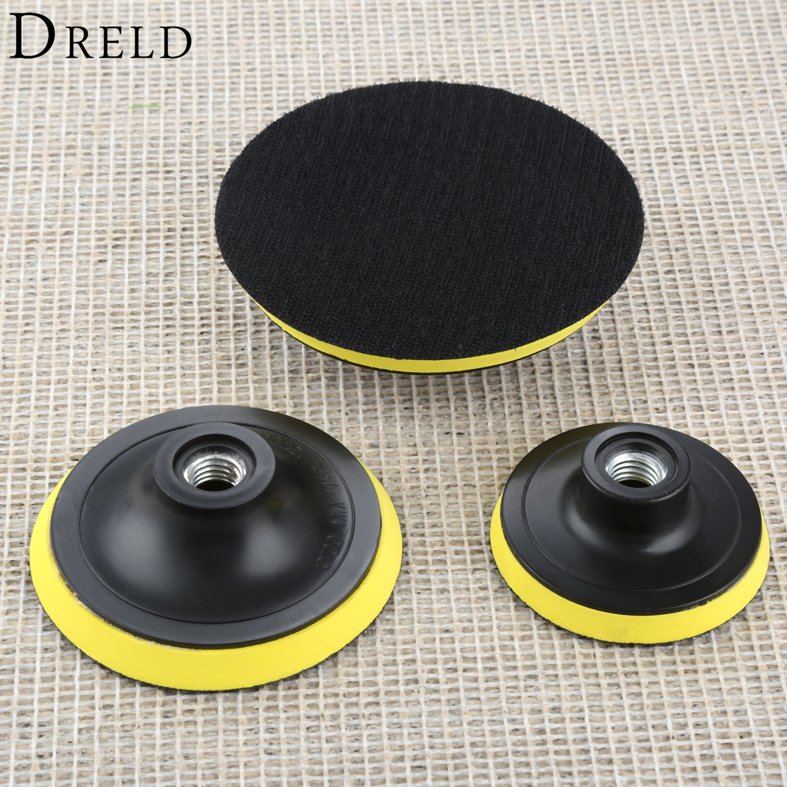 DRELD 1pc 3/4/5 Inch Car M14 Backing Plate Pad Hook Loop Polishing Buffing Pad Dia.75mm 100mm 125mm