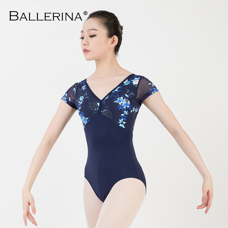 Image 3 - women ballet short sleeve printing leotard adulto Dance Costume short sleeve ballet practice leotard Ballerina 3532Ballet   -