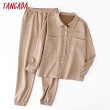 Tangada kobiety zestaw jednokolorowa zamszowa obszerna kurtka zestaw spodni 2020 jesień zima garnitur 2 sztuka zestaw płaszcz i spodnie 6L36