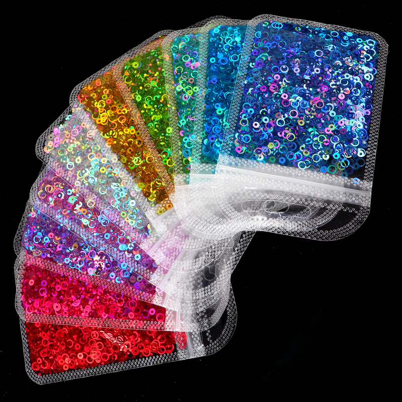 Holographic Mixed Size Circle Shape Nail Glitter Sequins Rainbow Round Holo Paillette Nail Art Flakes Slice Accessories Tools