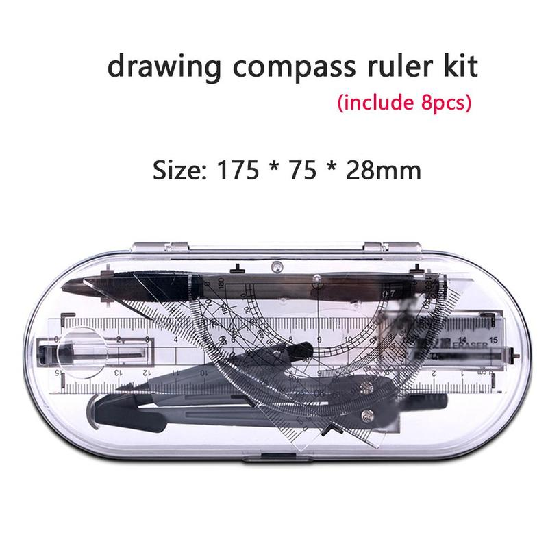 8pcs Portable School Math Geometry Set Protractor Drawing Compass Ruler Pencil Essentials Math Study Tool Kit With Storage Box