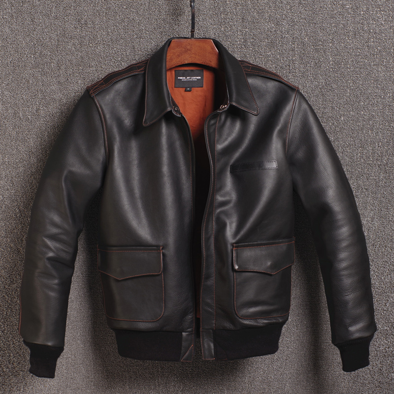 2020 Genuine Cow Leather Jacket Men Spring Autumn Mens Vintage Short Cowhide Coat Real Leather Jackets 16301833M02-9 YY413