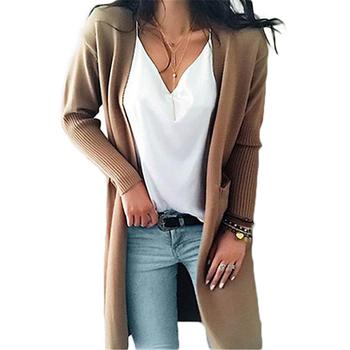 Długi sweter z dzianiny kobiet z litego materiału kaszmirowy sweter kobiet koreański styl kobiet ubrania czarny sweter 2020 swobodny sweter kobiet tanie i dobre opinie Prowow acrylic Stałe V-neck Osób w wieku 18-35 lat HWT0052 Pełna REGULAR Kieszenie STANDARD Otwórz stitch Na co dzień