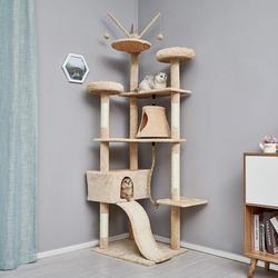 Arbre à chat cadre d'escalade pour chat planche à gratter chaton jouet 6 niveaux avec toboggan berceau balançoire Sisal hauteur 210cm C03