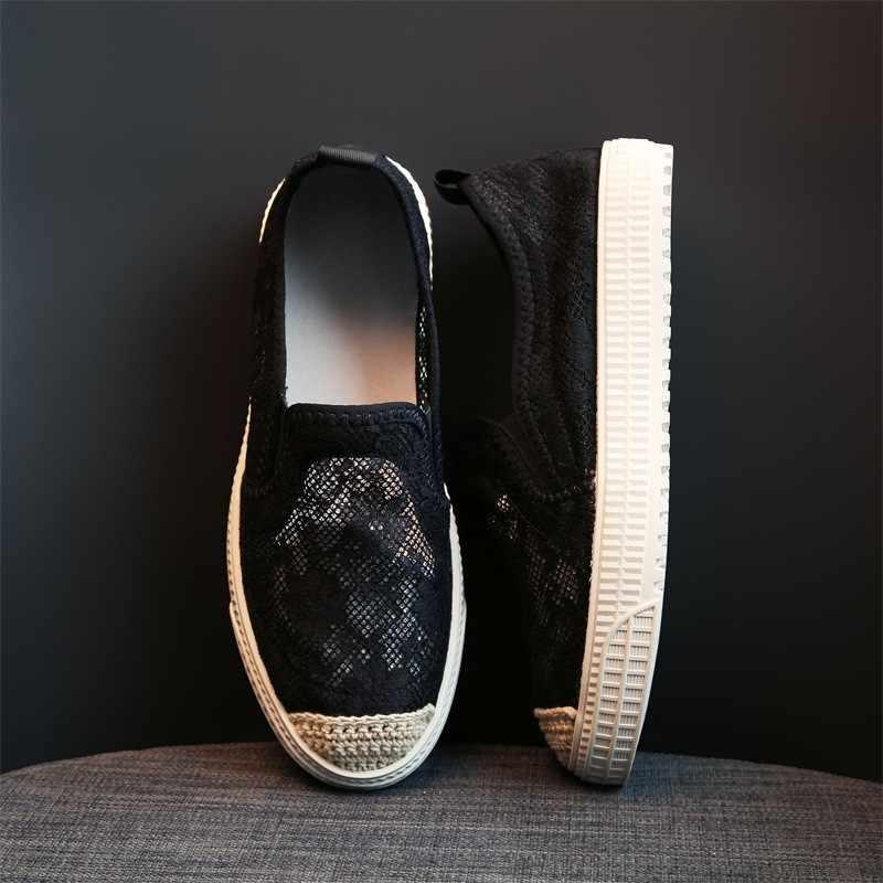 الصيف النساء تنفس فستان من الدانتيل حذاء مسطح شبكة عادية الانزلاق على المتسكعون الشقق جولة تو أحذية قيادة بيضاء