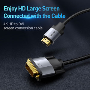 Image 2 - Baseus DVI to HDMI Cable Two way Male to Male 4K HDMI to DVI D Adapter Converter DVI D Video Cable for PS4 PC HD TV Projector