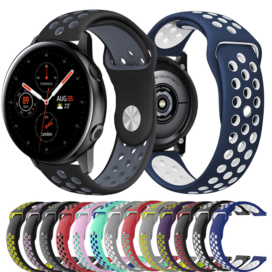 20mm Sport Silicone Watchband For Samsung Galaxy Watch Active2 40mm 44mm Quick Release Breathable Band Strap Galaxy 42mm Gear S2