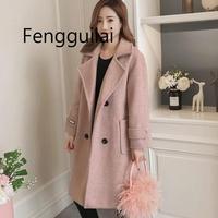 FENGGUILAI 2019 Autumn Winter New Fashion Women's Woolen Coat Long Section Students Thick Woolen Jacket Coat Beige Black