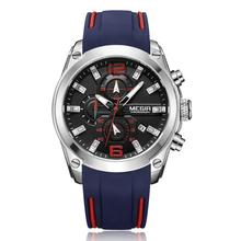 MEGIR Sport watch Multi-function timekeeping calendar stainless steel back Luminous running men's watch 2063 цена и фото