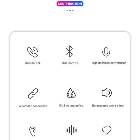 Bluetooth 5.0 Headset TWS Wireless Earphones Earbuds Stereo In-Ear r6t Multan