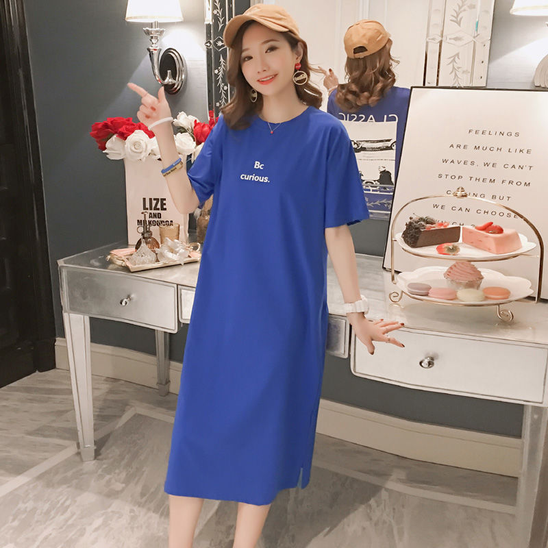 Summer new style Mid length short sleeved T shirt dress Korean version of loose cotton large size dress in Dresses from Women 39 s Clothing