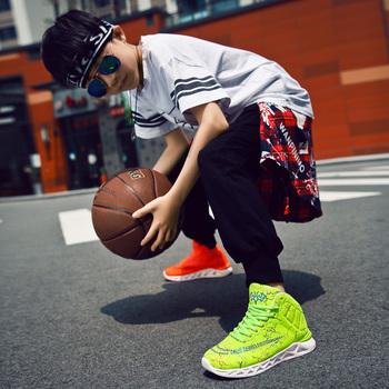 ALIUPS dzieci chłopcy buty koszykarskie dziewczęta dziecięce trampki antypoślizgowe skórzane sportowe buty do koszykówki na świeżym powietrzu tanie i dobre opinie CN (pochodzenie) Wszystkie pory roku RUBBER Breathable Mesh Black Red Blue 29-40 100 Real Photos Boys Basketball Shoes