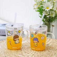 Coreanos para chica escala vidrio con paja sellada a prueba de fugas de dibujos animados taza desayuno taza Linda botella de agua para las niñas Kawaii