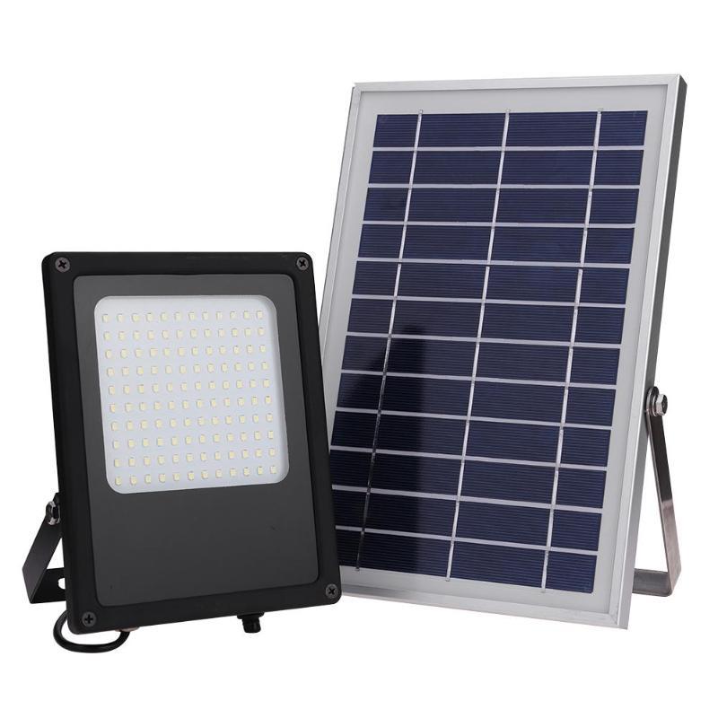 50W 120 güneş enerjili LED sokak lambası işık sensörü sel Spot lamba IP65 su geçirmez açık bahçe lambası acil güneş LED lamba aydınlatma