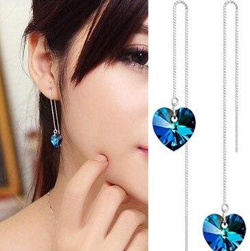 Новые корейские популярные модные креативные серьги-гвоздики с кристаллами в виде морского сердца для женщин, простые противоаллергически...