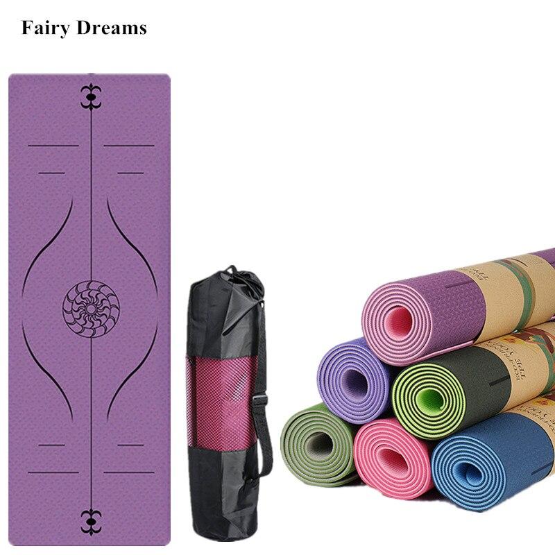 1830*610*6mm tpe tapete de yoga com linha posição esporte tapete para iniciante ginástica ambiental antiderrapante esteira conjunto saco