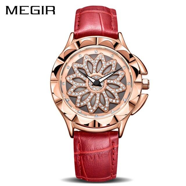 MEGIR relojes de lujo para mujer, con esfera giratoria, de cuarzo, de cuero rojo, femenino