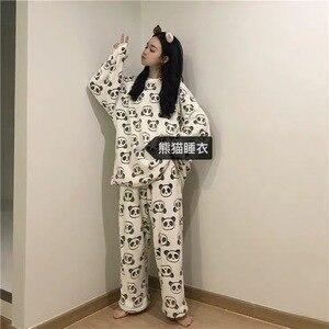 Image 2 - 2020 mignon panda pyjama polaire pyjama femmes automne et hiver pyjama avec pantalon flanelle maison porter deux pièces costume