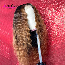 Ombre Colored 13x4 Lace Front Human Hair Wigs For Black Women Pre Plucked Brazilian Remy Curly 4x4 Lace Closure Wig 180 Density