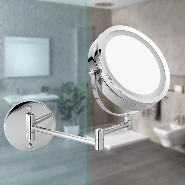 """LED Wall Mounted Makeup Mirror, 6.7"""" Diameter 1X/5X Magnifying 360° Rotatable illuminated Extendable Double-Sided Swivel Mirror 5"""