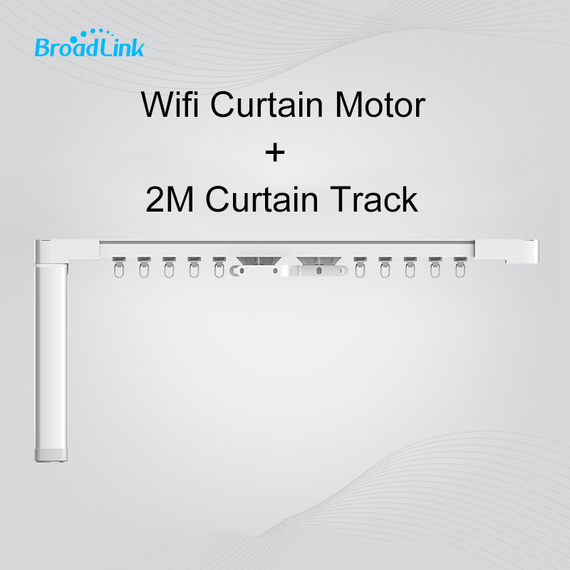 Broadlink CM WiFi Electronic Curtain Motor 45W + 2m CURTAIN RAIL ROD TRACK SET Kit with REMOTE EMITTER Smart Home System