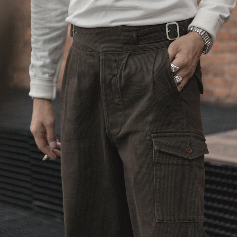 Bronson Brithsh Army Corduroy Gurkha Pants Vintage Men Clothing Pleated Trousers