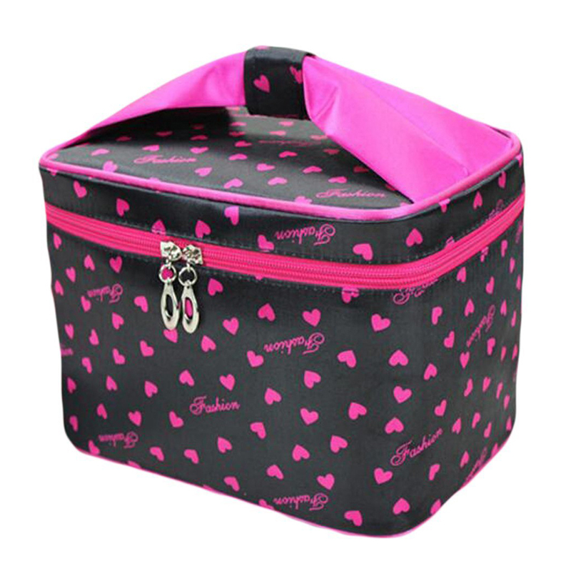 ABZC-Toiletry Cosmetic Storage Large Travel Makeup Bag With Sweet Bow Handle,Black